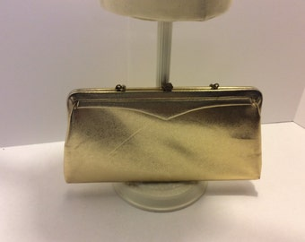 Vintage Gold Leather Evening Bag, Purse, Clutch Bag, Shabby Chic, Brass Accents