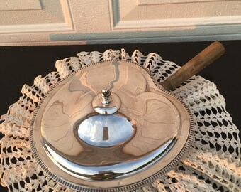 Vintage Electroplated Nickel Silver Covered  Dish with Wood Handle ~ Divided Dish with Matching Top ~ Beaded Edge
