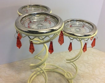 Vintage Handpainted Lemon Yellow Metal 3 Arm Candelabr with Red Lucite Prisms Shabby Chic Wedding Table Display, Boho Style, Sweet 16 Party