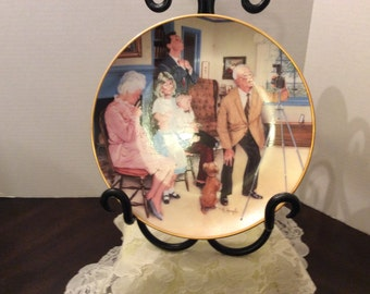 Vintage Decorator Plate, Mike Hagel, The Family Portrait, 1985, Plate Number 23310, Limited Edition, 24 KT Gold Trimmed