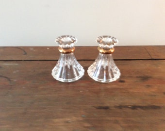 Vintage Crystal Candlestick Holders, Set of 2, Geuine Lead Crystal, Copper Trim on Candleholder