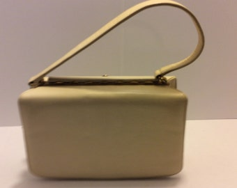 Vintage 1960's Nicholas Reich Hollywood Glamour Cream Color,  Leather Handbag, Retro Purse, Shabby Chic Style, Gold Accents