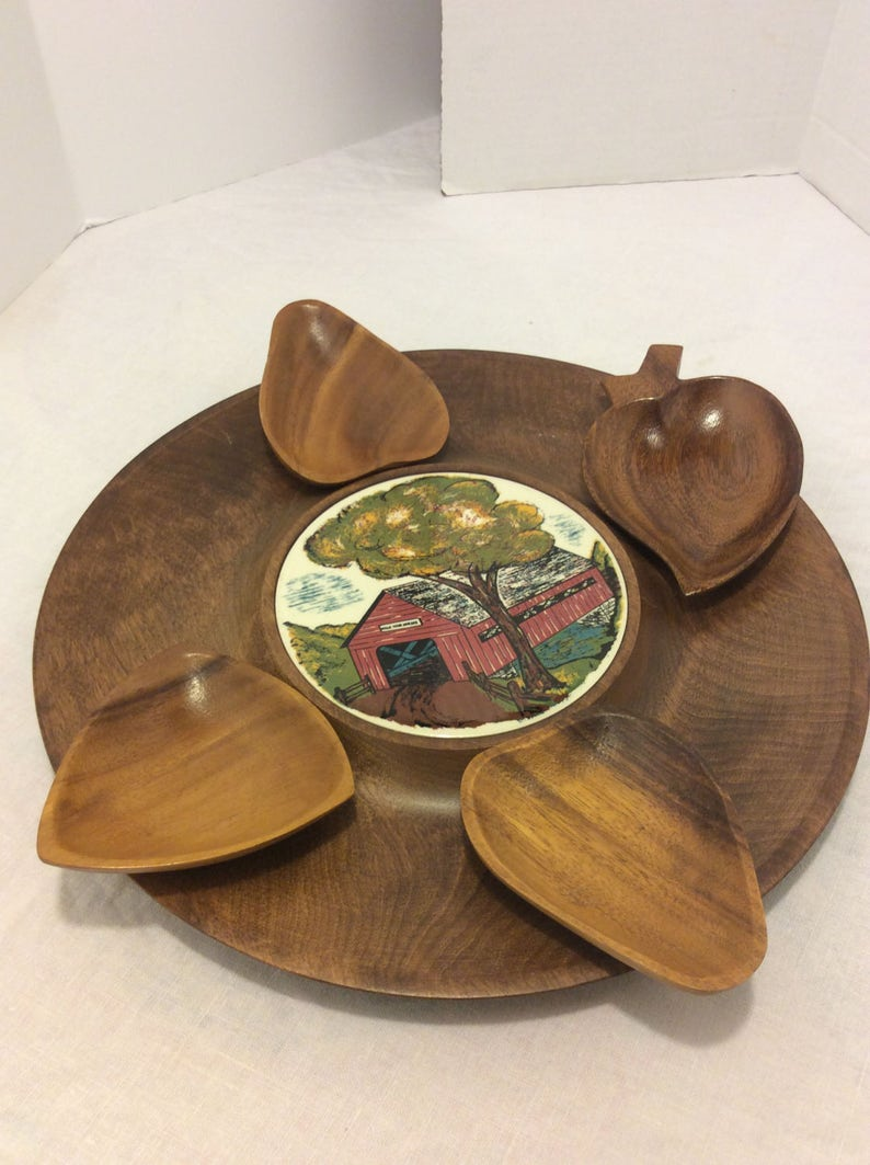 Retro Dining Tray with Trivet Man Cave  Poker Night Country Kitchen Vintage Woodbury HandTurned Snack Tray with 4  Bowls Shabby  Chic