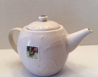 Vintage Hallmark Teapot ~ Maryolein Basain ~ Holly Leaves and Berries~ Gray and Beige