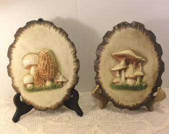 Vintage Pair of 3D Style  Oval Chalkware Mushrooms Plaster Wall Plaque Farmhouse Kitchen Decor Shabby Chic Rustic Pottery Wall  Decor