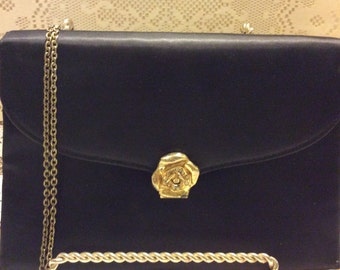 Vintage Shabby Chic Black Clutch Bag with Gold Rose Closure, Black Purse, Evening Bag, Holiday Bag