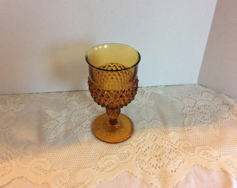 Vintage Gold Depression Glass, Wine Glass, Water Goblet