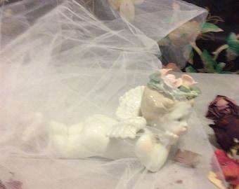 On Sale!  Vintage Porcelain Angel / Cherub with Pink Flowers in Hair