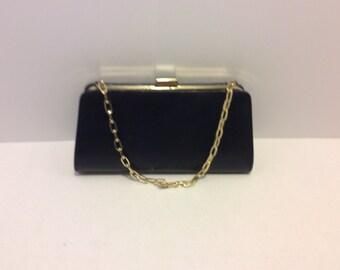 Vintage Bijoux Terner Black Clutch Handbag, Gold Shoulder Chain Strap, Shabby Chic, Retro Bag, Evening Bag, Hollywood Glamour