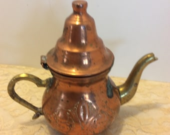 Vintage Copper and Brass Tea Pot, Shabby Chic Kitchen, French Country Style