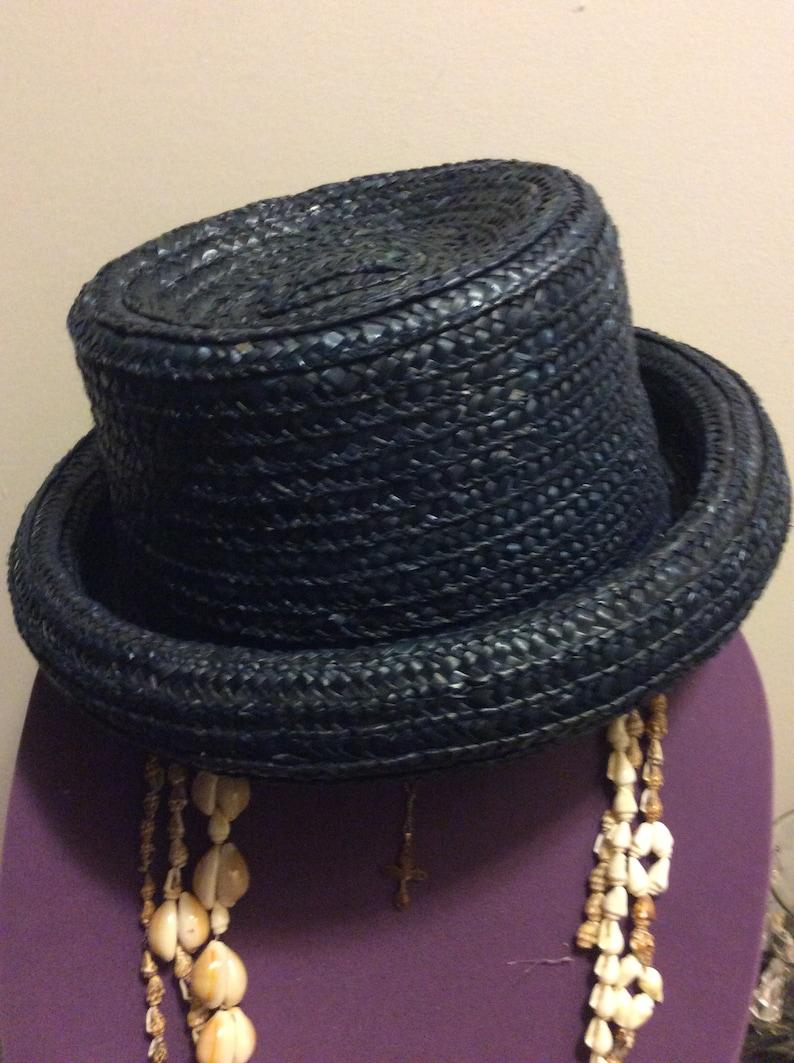 4cd2a90734c51 Vintage Navy Blue Hat Ladies Straw Hat Summer Wedding