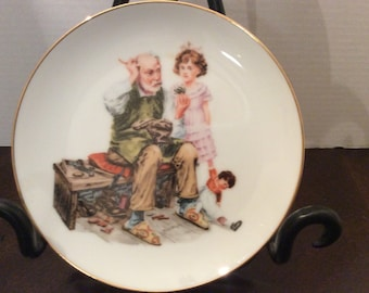 Norman Rockwell inspired Decorator Plate, The Cobbler, Museum Collections Inc, 1986.