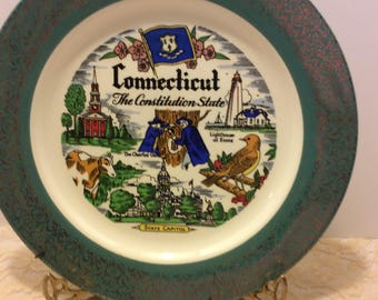 Vintage Souvenir Plate Connecticut Homer Laughlin USA Shabby Chic Country Kitchen Collectible Wall Plate