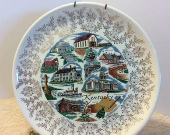 Vintage Souvenir Plate Kentucky, Shabby Chic Country Kitchen Decor