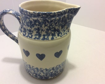 Vintage Blue Sponge Roseville Pottery, Blue and White Hearts, Shabby Chic, Water Pitcher, Roseville, Ohio
