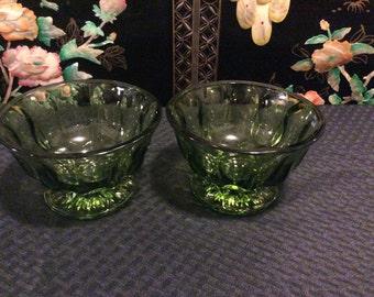 On Sale!  Vintage Avocado GreenDepression Glass Footed Bowl Starburst Design/ Set of 2