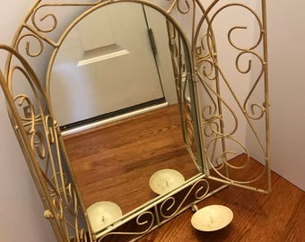 Vintage Off White Metal Victorian Style Scroll Mirror with Swing Doors and Candleholders Shabby Chic Decor Vanity Decor Boudoir Wall Accent