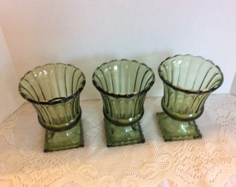 Vintage Green Depression Glass, Water Goblet, Wine, Drinking Glass, Set of 3