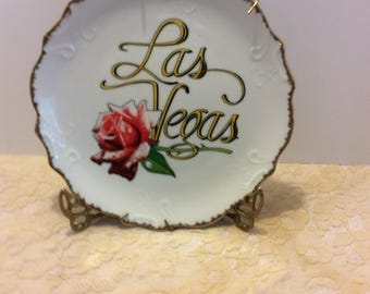 Vintage Las Vegas Souvenir Plate, Rose Flower, Made in Korea, Collectible Shabby Chic Travel Keepsake