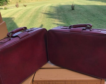Vintage 2 Piece C & C  Burgundy Leather Luggage Travel Set  Bordeaux Leather Suitcases -  Wedding Luggage Vacation Overnight Bag Brass