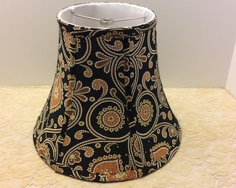 Vintage Black Paisley Print Lamp Shade, Shabby Chic Boudoir Decor