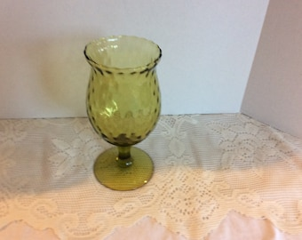 Vintage Green Depression Glass Goblet Drinking, Winre, Water Glassware