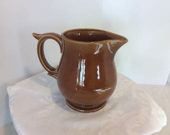 Vintage McCoy USA Brown Caramel Glazed Pottery Water Pitcher, Flower Vase, Shabby Chic Decor, Collectible Ceramic, Tea Party, Retro Dining