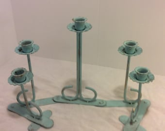 Vintage Blue Handpainted Shabby Chic Brass Candleholder, Wedding Decor, Cottage Decor, Beach House, Tea Party, Retro Dining