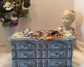 Vintage Bejeweled Jewelry Chest ~ Vintage Jewels ~ Keepsake Box ~ Shabby Chic~ Upscycled ~ Adorned~ Heirloom Box