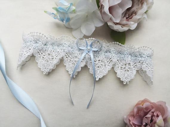 INDIVIDUELL MIT NAMEN Hochzeit Braut Strumpfbänder Hellblaues Strumpfband