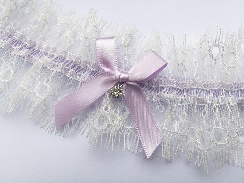 lilac garter ivory garter ivory lace garter bridal garter purple garters for wedding Lilac wedding garter ivory eyelash lace garter