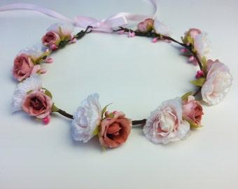 Pink flower crown, pink flower hair garland, pink flower hair wreath, hair piece, flower girl, pink festival crown, pink flower headband
