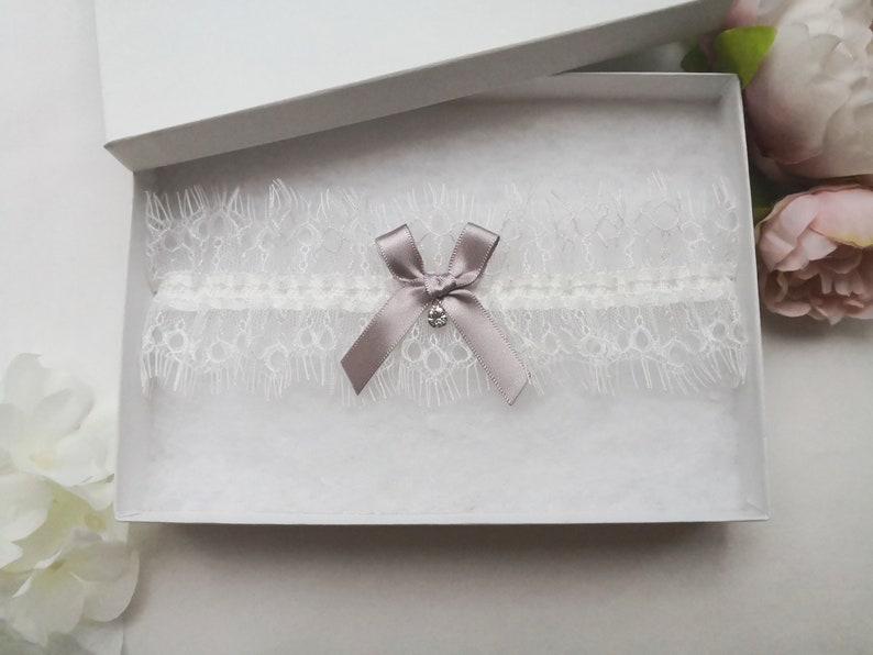bridal garter with crystal drop ivory eyelash lace garter Silver grey wedding garter