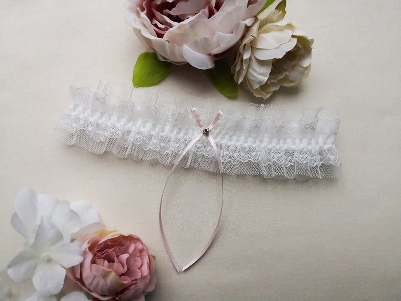 Pink bridal garter wedding garter with gift box ivory lace garter with a crystal ivory tulle garter