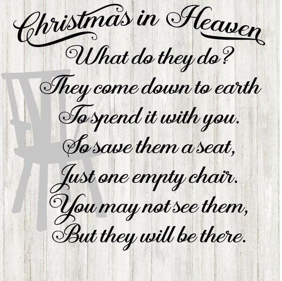 Christmas In Heaven Poem Svg.Christmas Svg Christmas In Heaven Svg Silhouette Cameo Cricut Cutting Machine Cut File Christmas Vinyl For Shirts For Signs