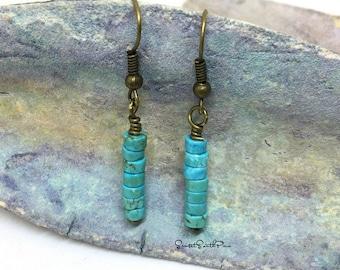 BEADED EARRINGS, Turquoise Howlite Earrings, Beaded Heshi Earrings, Drop Earrings, Bohemian  Earrings, Boho Jewelry, Dangle Earrings, Hippie
