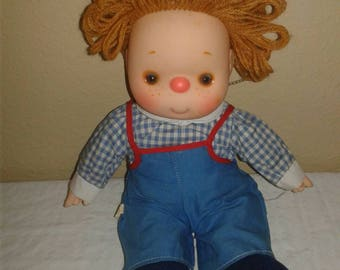 Vintage smiling freckeled red nose 1980s baby doll 11 inches long adorable vintage toys