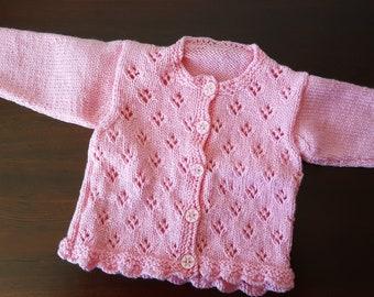 Handmade Pink Girls Cardigan