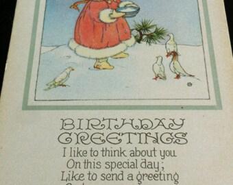 Vintage Birthday Greetings Post Card, Girl Feeding Birds