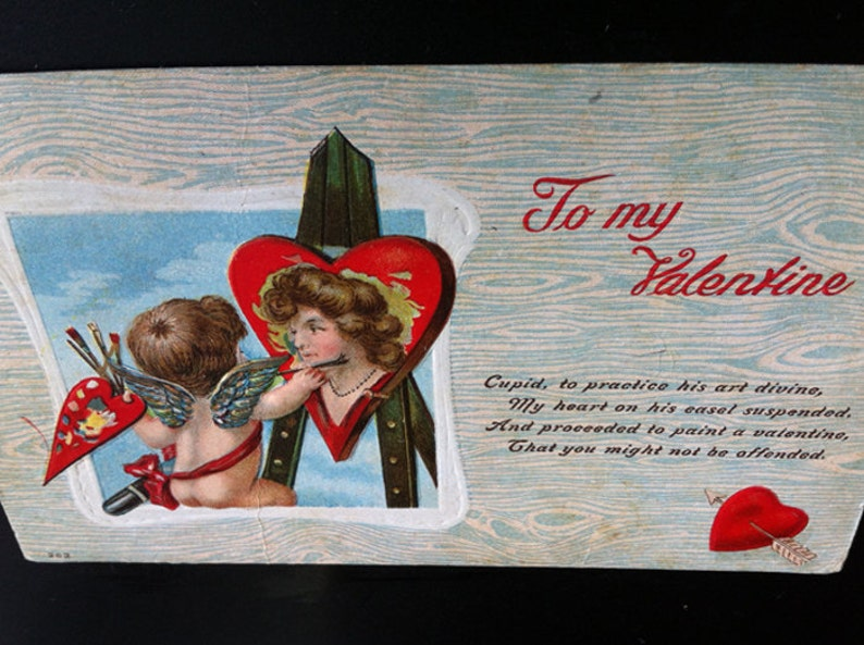 Cupid Painting 1909 Embossed Valentine Post Card