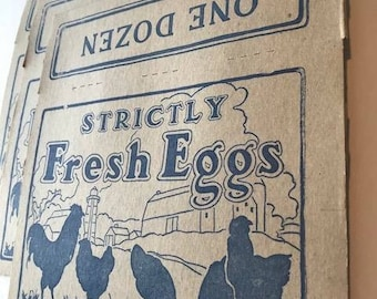 Lot of 3 Antique Cardboard Egg Carton Strictly Fresh Eggs One Dozen Unused Mint Condition