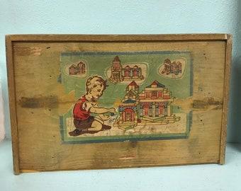 Vintage 1930's Wooden Block Set