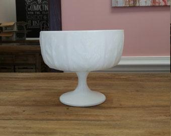 Elegant Vintage F.T.D Footed Milk Glass Jardiniere Oak Leaf Pattern
