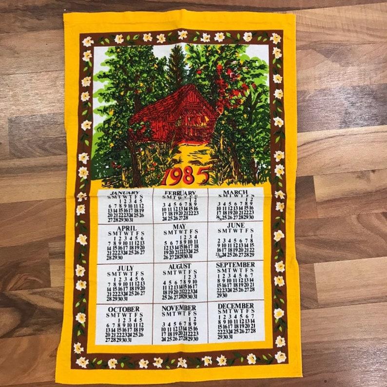 1985 Calendar.Vintage 1985 Calendar Tea Towel