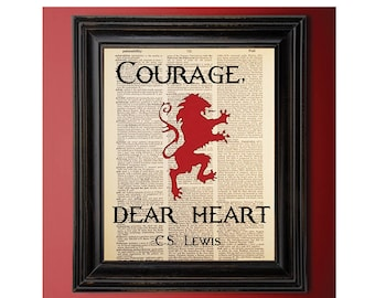 Courage Dear Heart, CS Lewis, Quote, Dictionary Art Print, Vintage, Recycled/Upcycled, Old Dictionary Book Page, 8 x 10 Print (#178)
