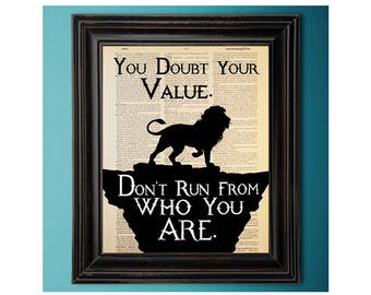 Narnia Lion, Aslan, You Doubt Your Value, Don't Run From Who You Are, Chronicles,  C.S. Lewis, Art Print, Dictionary Page, Unique Gift