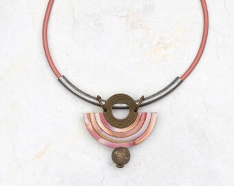 Bib pink necklace Rustic statement necklace Boho ethnic necklace Bohemian necklace Eva Andre Design