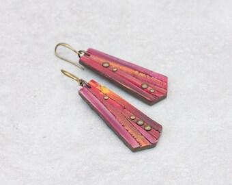 Modern Geometric Earrings - Riveted Earrings - Dangle Earrings - Contemporary urban Jewelry