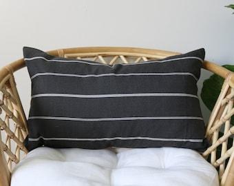 "17 - Gray stripe pillow cover - 15"" x 25"""
