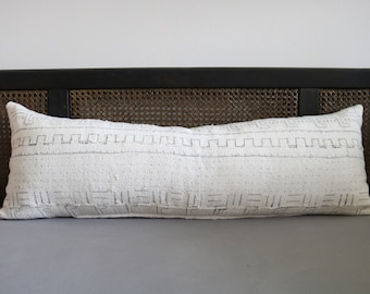 """12 - White Mudcloth pillow cover - 12"""" x 35"""""""